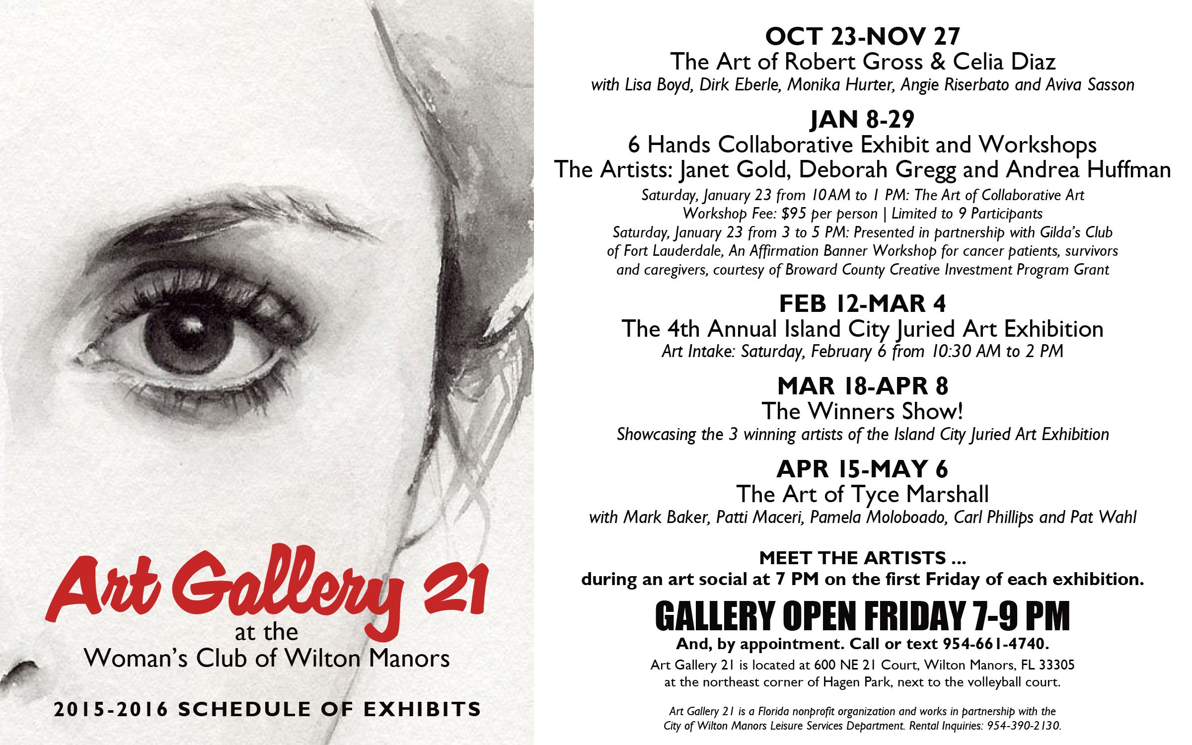 2015-2016 Art Gallery 21 Schedule